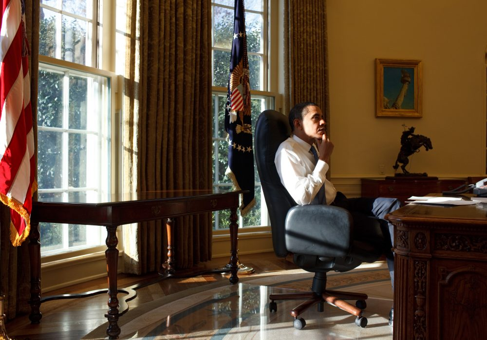 President Barack Obama in the Oval Office on his first day in office 1/21/09.
