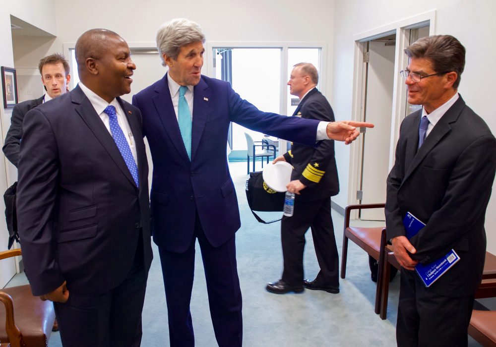 U.S. Secretary of State John Kerry, who speaks fluent French, points to his French interpreter on standby as he meets with Central African Republic (CAR) President Faustin-Archange Touadéra after both officials signed the COP21 Climate Change Agreement on Earth Day, April 22, 2016, at the United Nations Headquarters in New York, N.Y. [State Department photo/ Public Domain] [State Department photo/ Public Domain]