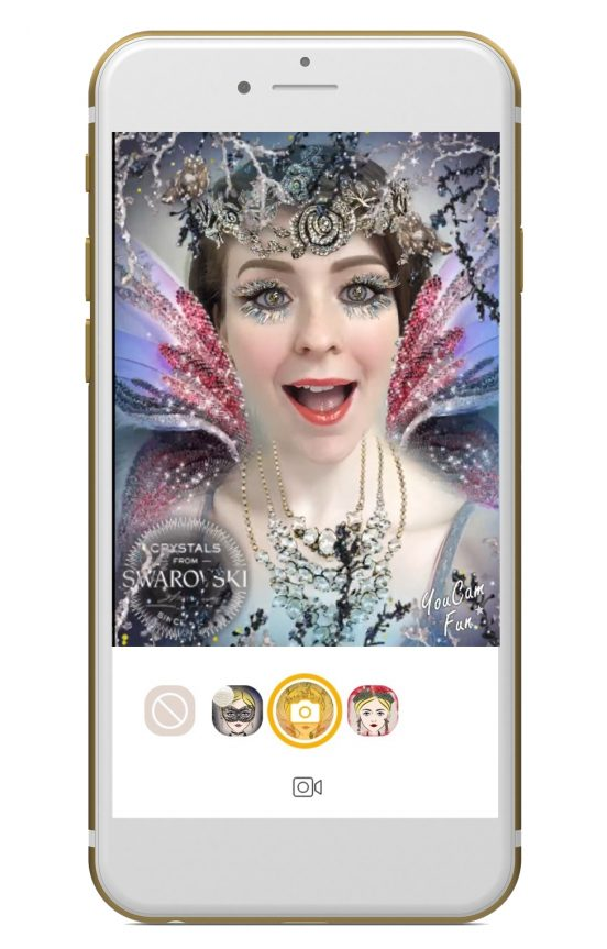 AR filters in YouCam Apps with Swarovski crystals Photo Business Wire